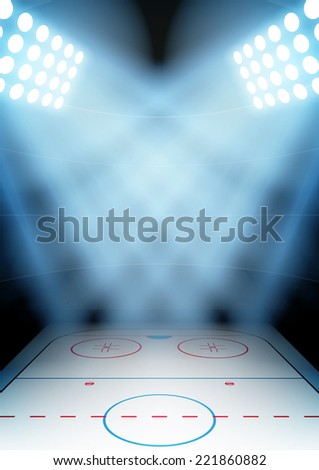 Vertical Background for posters night ice hockey stadium in the spotlight. Editable Vector Illustration. - stock vector