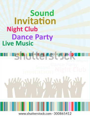 Vertical blue music party background with graphic elements and text. Vector illustration