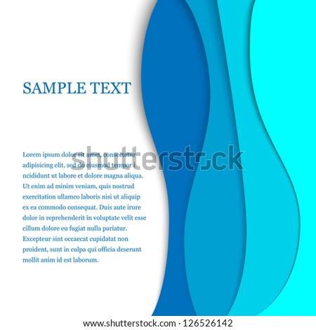 Vertical blue waves with text - stock vector