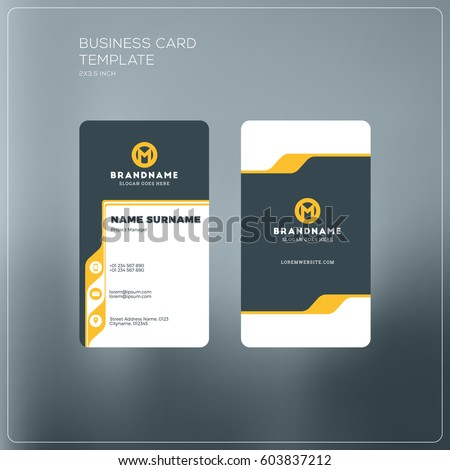 Vertical business card print template personal stock vector 2018 vertical business card print template personal business card with company logo black and yellow reheart Image collections
