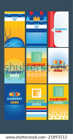 vertical business card set - stock vector