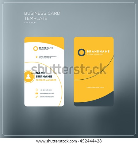 Vertical business card template company logo stock photo photo vertical business card template with company logo two sided business card mock up with flashek Gallery