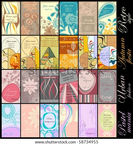 Vertical business cards collections: retro, autumn colors, urban style and pastels - stock vector