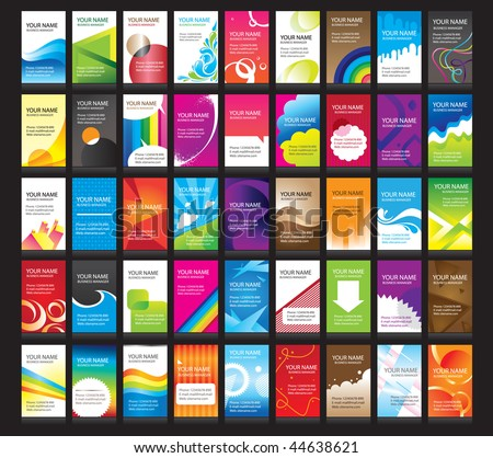 vertical business cards. 45  set - stock vector