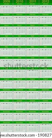 Vertical Calendar for 2009 to 2012 - stock vector