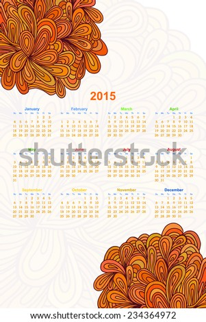 Vertical calendar on a white background with an floral ornament Doodle. 2015. Ethno. Vector illustration. - stock vector