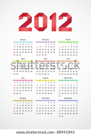Vertical calendar 2012 year with origami element. Vector. - stock vector