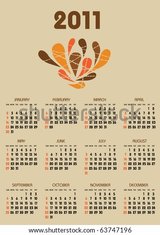 vertical calendar 2011 year with retro brown theme - stock vector