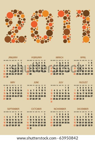 vertical calendar 2011 year with retro dots theme - stock vector