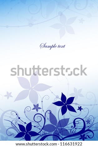 vertical card with blue flowers - stock vector