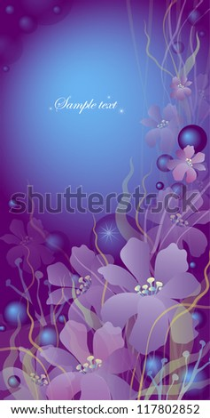vertical card with flowers on a violet background - stock vector