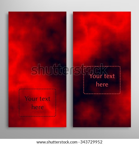 Vertical cards set. Abstract fire flames red and black clouds texture. Decorative background for Invitations, business cards or banners, place for your text. Digital vector illustration - stock vector