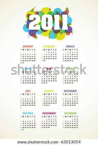 Vertical color vector calendar for 2011 year
