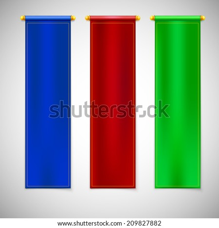 Vertical colored flags with emblems. Vector illustration for your design - stock vector