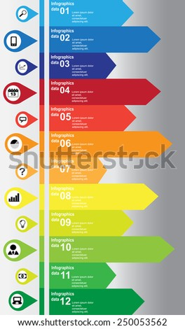 Vertical colorful infographic with business and technology icons - stock vector