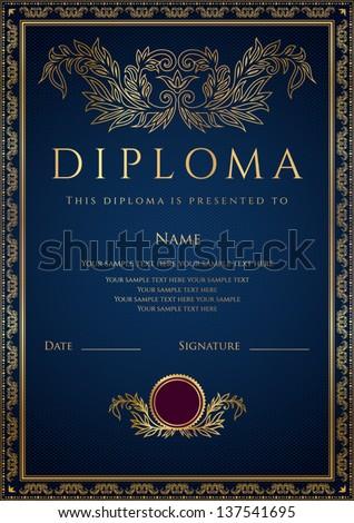 Vertical Dark Blue Diploma Certificate Template Stock ...