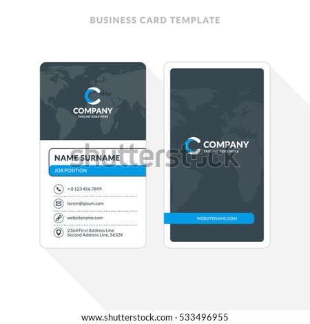 Vertical doublesided business card template blue stock vector vertical double sided business card template blue and black colors flat design vector accmission Images