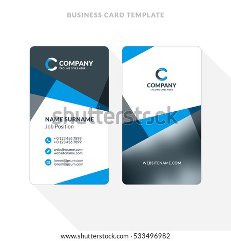 Vertical doublesided business card template blue stock vector vertical double sided business card template blue and black colors flat design vector accmission Choice Image