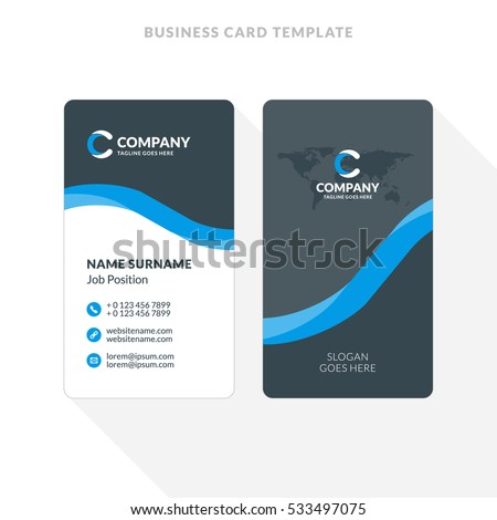 Vertical Doublesided Business Card Template Blue Stock Vector - Double sided business card template