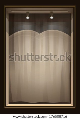 Vertical empty storefront  with lights - stock vector