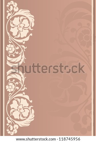 Vertical floral frame in neutral colors - stock vector