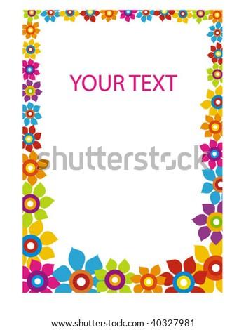 vertical flower frame - stock vector