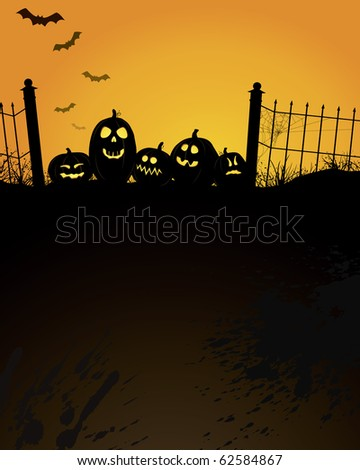 Vertical Halloween design with copy space in large dark black texture area below. - stock vector