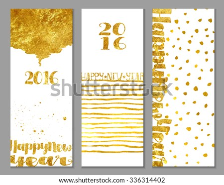 Vertical 2016 Happy New Year banners, with shiny gold foil texture and abstract decorative elements on white background, hand drawn
