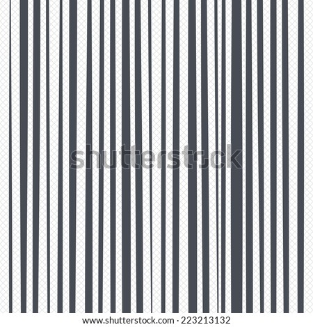 Vertical lines pattern background. Abstract wallpaper with random wide narrow stripes or curves. Grid lines texture. Cells repeating pattern. White background. Vector