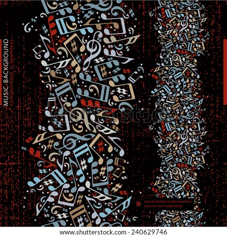 Vertical music abstract background with musical notes, vector design. - stock vector