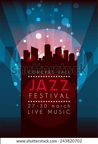Vertical music jazz background with silhouette of city and text. Vector illustration. - stock vector
