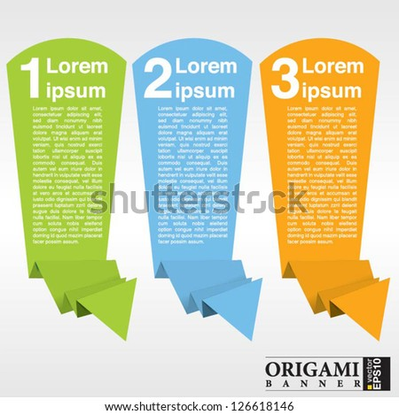 Vertical origami paper banner vector with numbered.EPS10 - stock vector