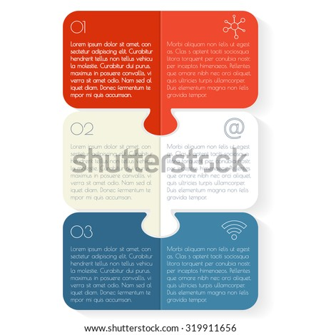 Vertical paper progress steps for tutorial. 3 option puzzle infographic banners. Number banners template for diagram, graph, presentation or chart. Business concept sequence banners. EPS10 layout. - stock vector