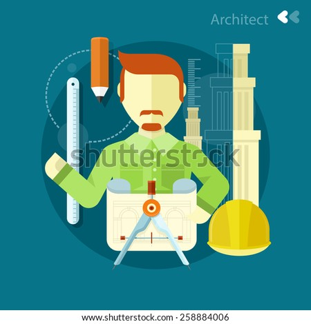 Vertical portrait of a happy architect constructor worker at his work place with tools for drawing. Concept in flat design - stock vector