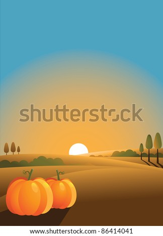 vertical pumpkin background Ripe pumpkins in an idyllic setting, with space for your message. - stock vector