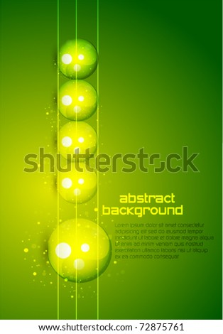 Vertical raw of glass spheres. Abstract green background - stock vector