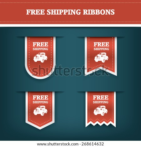 Vertical ribbon bookmarks, tags, stickers for free shipping or delivery. E-shop website elements. Advertising sales. Eps10 vector illustration - stock vector