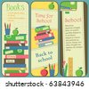 Vertical School and Book Banners or Bookmarks - stock photo