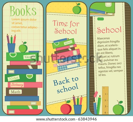 Vertical School and Book Banners or Bookmarks