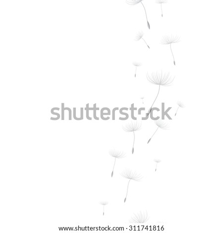 Vertical seamless background with flying dandelion seeds. - stock vector