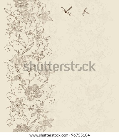 vertical seamless floral pattern - stock vector