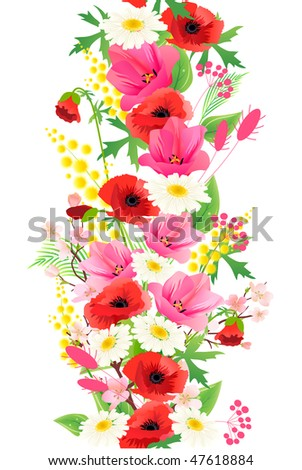 Vertical seamless pattern made of different summer flowers