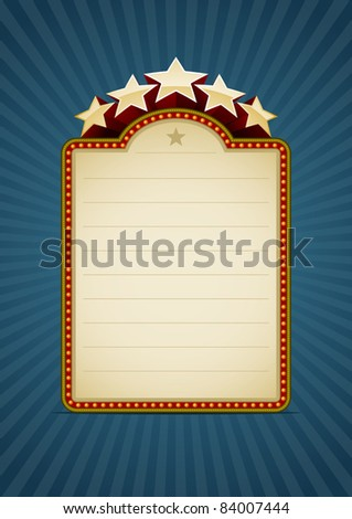 Vertical show banner on blue. All elements are layered separately in vector file. Easy editable. - stock vector