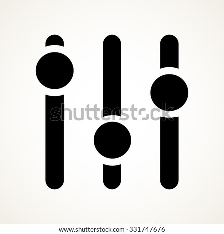 Vertical sliders, faders, potentiometers. vector symbol - stock vector