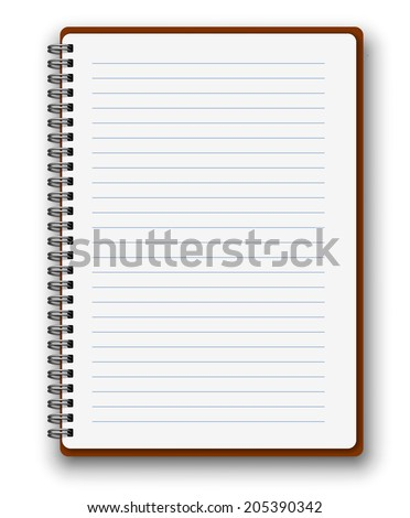 Vertical spiral vector notebook with brown cover