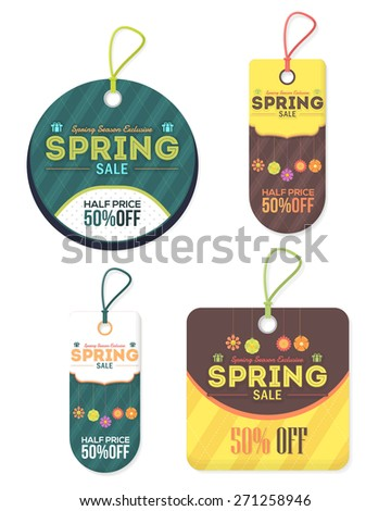 Vertical Style Spring Sale Price, Discount Tag Objects, Banner, Label Vector Design Set - stock vector
