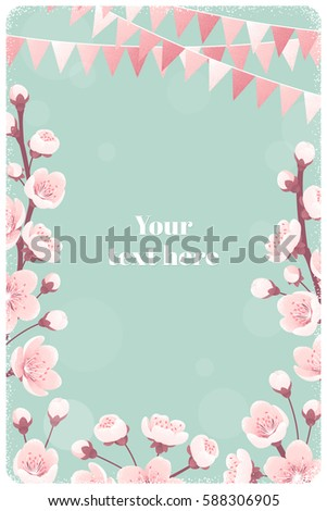 Vertical Template With Cherry Blossom Spring Flowers Party Flags Retro Vector Illustration
