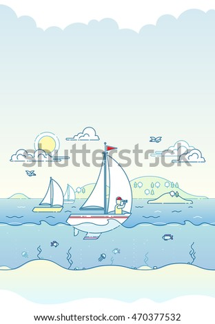 Vertical vector illustration of yacht and sailor sailing in the sea with coastline and trees on back. Sunny summer day and clouds. Front view. Underwater world with fish, jellyfish and seaweed.