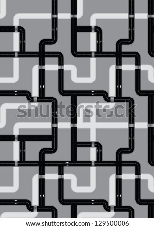 Vertical vector seamless background - the roads and footpaths - stock vector