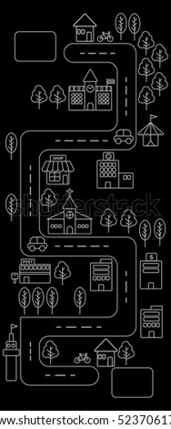 Vertical view of Simple line urban town map icon on black background
